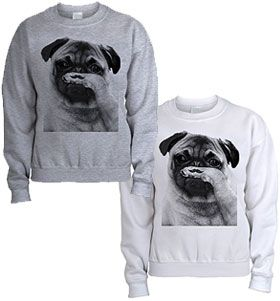 Unisex Pug tash sweater at www.ilovepugs.co.uk size s-xxl post worldwide