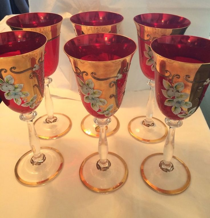 Chech Bohemian Crystal Enamel Painted  Set Of 6 Ruby Red Long Stem Wine Glasses #Bohemian