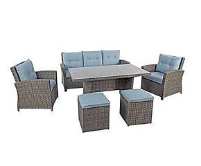 Salotto Ferdy di 1 divano, 2 sedie, 2 pouf e 1 tavolo - grigio/azz.