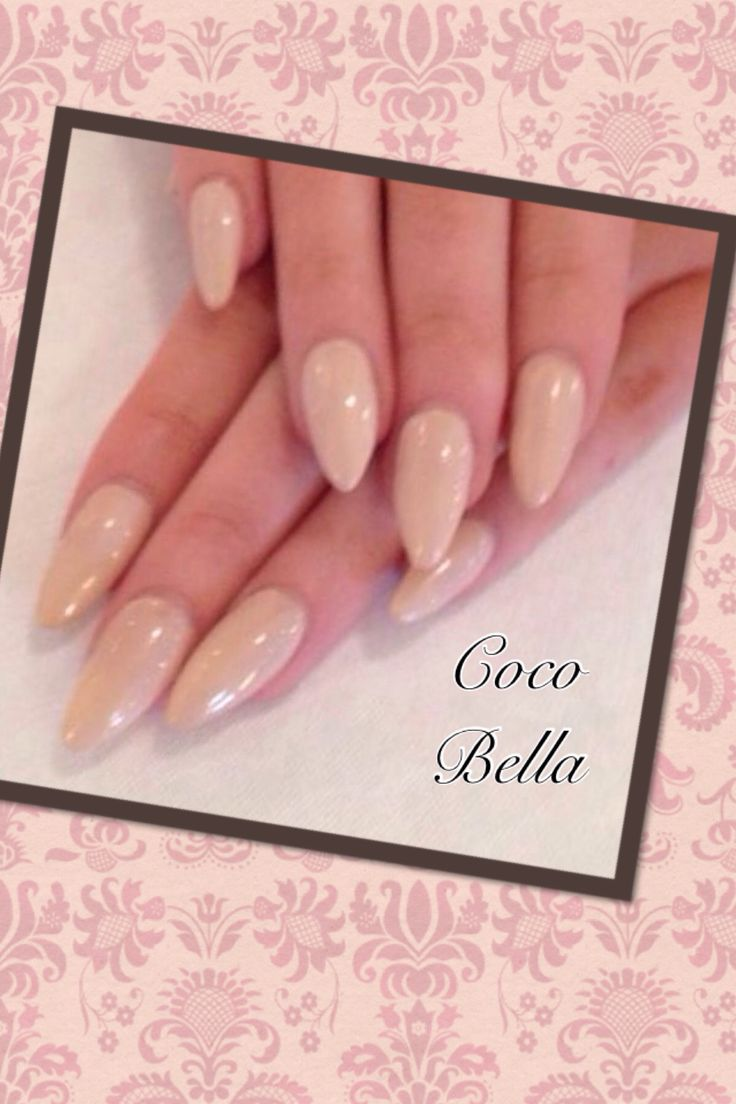 Cream gelish on acrylics. Cocobellanailbar