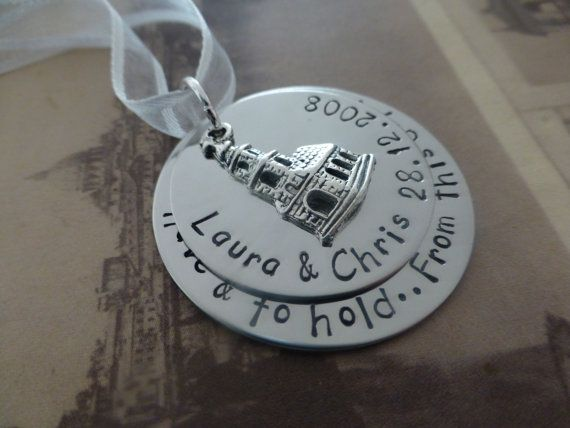 Hand stamped metal wedding ornament wedding gift by lauriebale