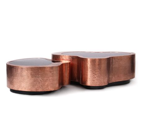 Wave Center Table by Boca do Lobo | Wave is hammared copper center table with a top in black mirror. A modern design piece that will innovate your luxury home. www.bocadolobo.com