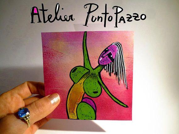 Artie Nr. 16 Außenseiter Kunst, weibliche Aktzeichnung, 3,9 x 3,9 Zoll