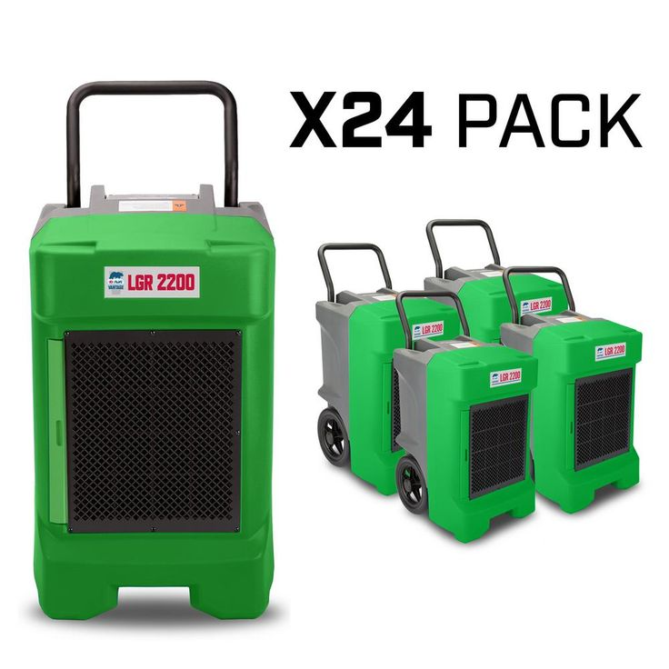 B-Air 225-Pint 400 CFM Commercial LGR Dehumidifier for Water Damage Restoration Mold Remediation, Green (24-Pack), Greens