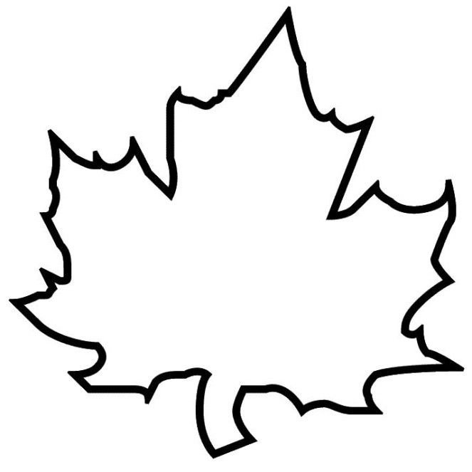 Autumn Maple Leaf Template Coloring Page For Kids