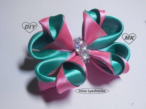Нарядные резинки бантики из лент канзаши МК (часть 2) / hair clips ribbon kanzashi DIY - YouTube