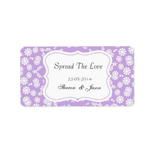 """A fabulous idea for wedding favors, little pots of jam or honey add these stylish little labels in lilac/purple and white ditsy flower pattern """"Spread The Love"""" personalized with your wedding date and initials or names. #wedding #favors #jam #labels #spread #the #love #canning #labels #wedding #diy #wedding #favors #personalized #wedding #favors #shades-of-purple #purple-and-white #purple-wedding-theme #patterned #stylish #jar #labels #weddings #wedding #stickers #favors #personalized #names…"""