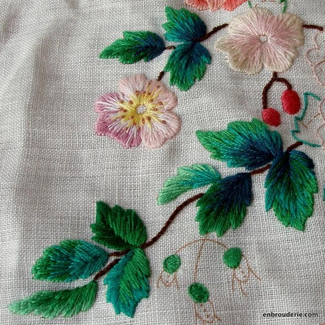 Embroidered flowers and leaves; The different leaves and the color effects in combination by Elsa Williams Bluebird Floral