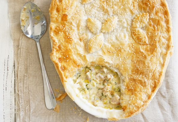 Absolutely beautiful chicken and leek pie, and so easy to make.