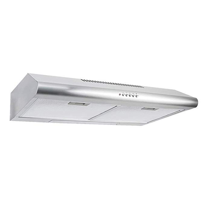 Amazon Com Cosmo 5mu36 36 In Under Cabinet Range Hood 200 Cfm Ducted Ductless Convertible Top Rear Duct Range Hood Exhaust Fan Under Cabinet Range Hoods
