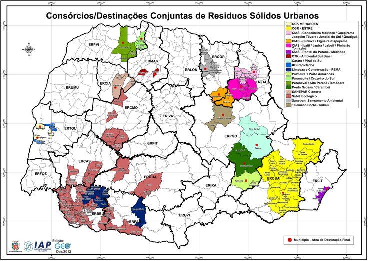 Mapa das Destinações Conjuntas dos Resíduos Sólidos Urbanos no Estado do Paraná