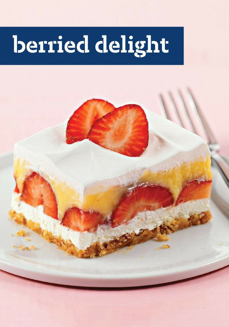 Berried Delight – Juicy strawberries meet creamy pudding in these crowd-pleasing no-bake dessert squares. Enter the Celebrate Delicious Spring Desserts Pin to Win Sweepstakes! Pin your favorite dessert or select your own for a chance to win a professional mixer! Visit www.kraftrecipes.com/springdesserts/?affiliate_id=1a for complete details.