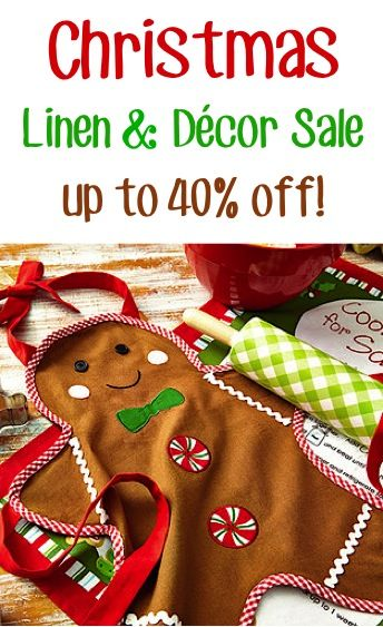 Christmas Linen, Aprons and Décor Sale: up to 40% off!!
