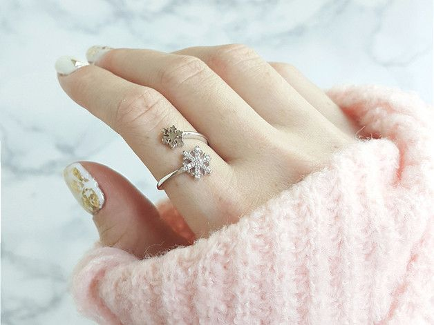 Rings – snowflake ring christmas ring – a unique product by Milky-peach on DaWanda