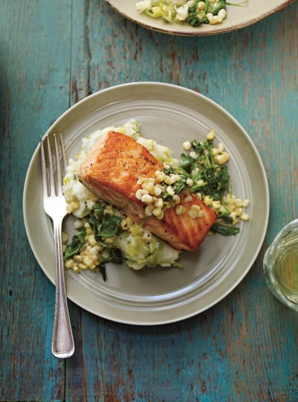Recette de Ricardo de saumon poêlé et purée de pommes de terre aux poireaux