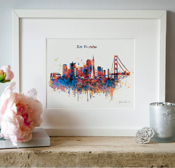 San Francisco watercolor skyline for instant by Artsyndrome