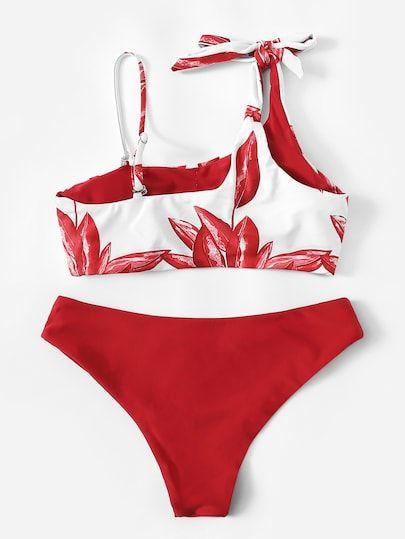 775e903d09 Bikini de un hombro con estampado de hojas al azar | ROMWE | TRAJES ...