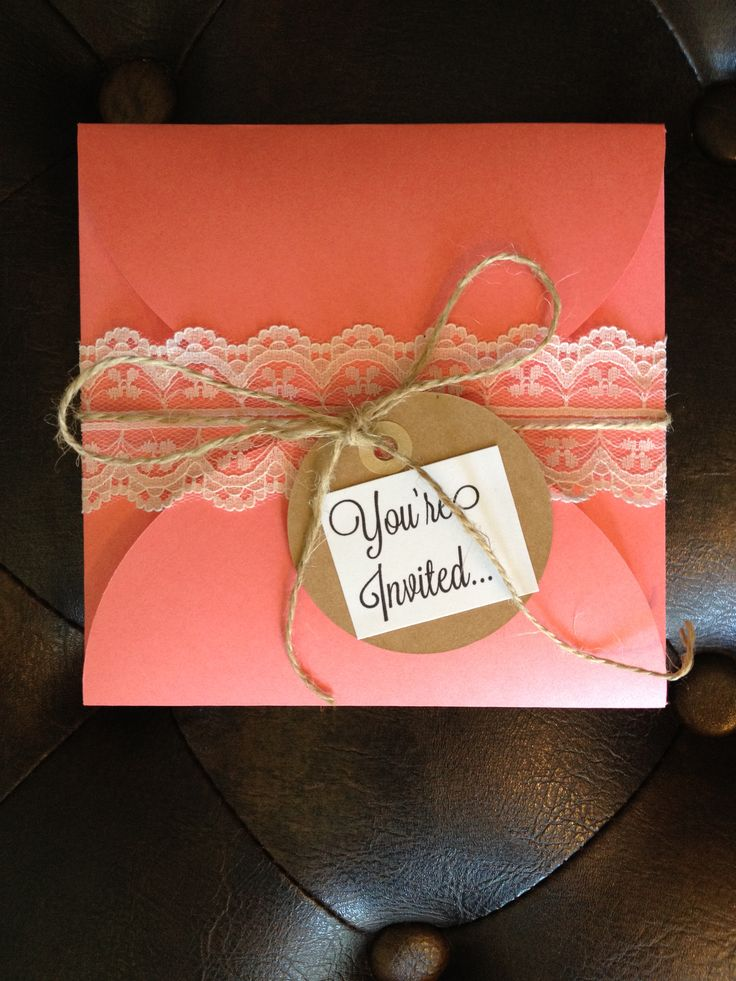 Peach pocket folder with rustic touches for a princess birthday!