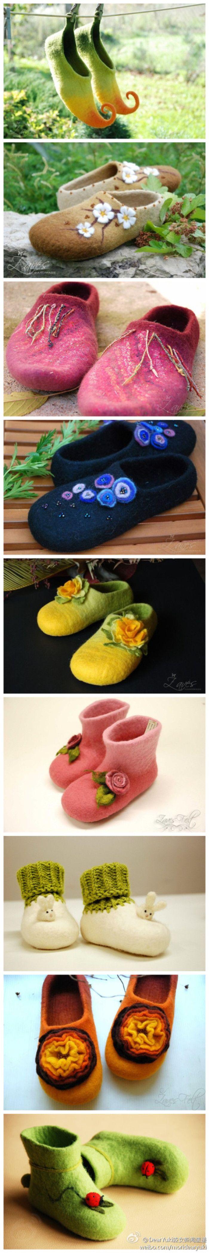 羊毛毡小鞋……_来自唐二奶奶的图片分享-堆糖