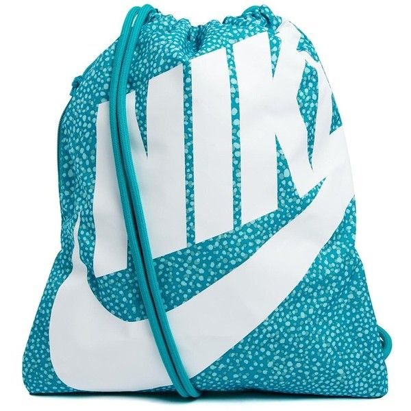 Nike Heritage Drawstring Gym Bag ($14) ❤ liked on Polyvore featuring bags, handbags, shoulder bags, accessories, nike shoulder bag, nike handbags, lightweight gym bag, gym bag and drawstring shoulder bag
