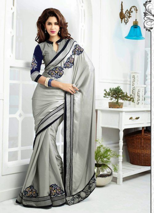 Enigmatic Silver Embroidered Saree