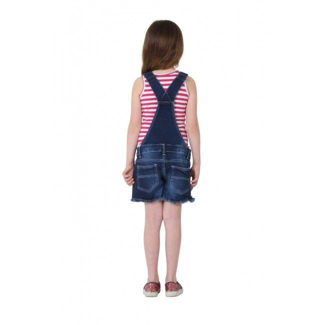 Girls Denim Button Front Dungaree Shorts - Dark Wash. #overalls for kids.