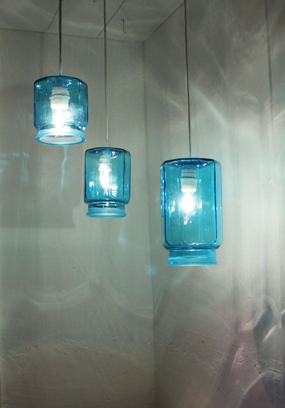 Crisp cool ocean sapphire blue kitsch kitchen canister set of three lights hanging pendant lighting fixtures upcycled recycled accent light