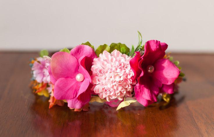 Flower Crown - Flowergirl hairpiece - Hot Pink Wedding - Newborn Photo Prop - Wedding Crown - Floral Hairpiece by LittleLadyAccessory on Etsy
