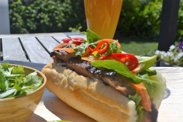 Grilled lemongrass pork bahn mi.