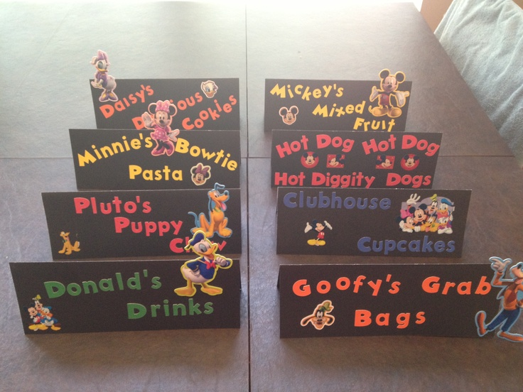 Mickey Mouse Birthday Food Signs