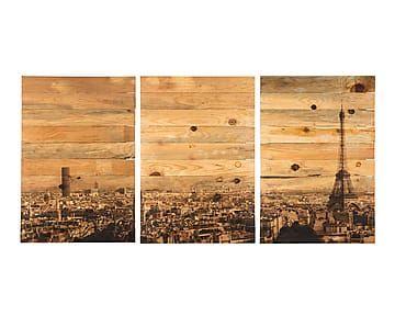 Tríptico impreso en madera maciza de pino París - 150x70 cm