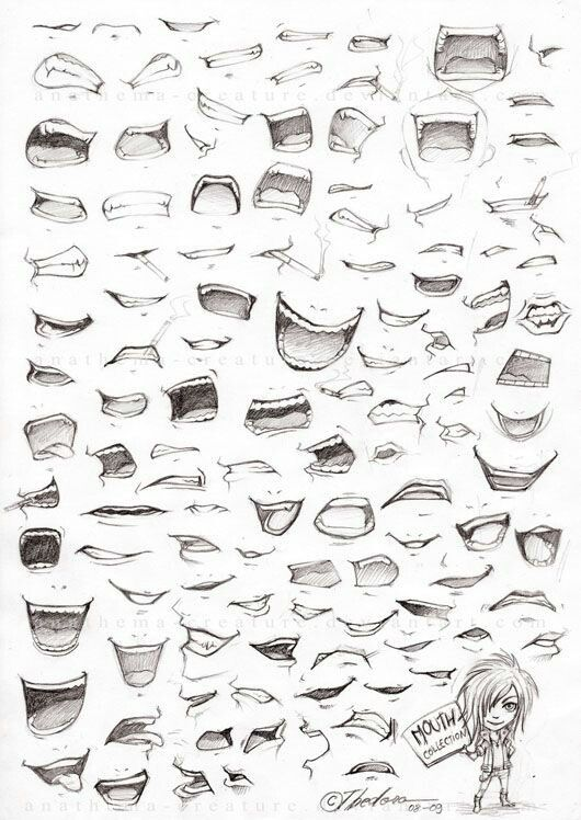 how to draw different mouths