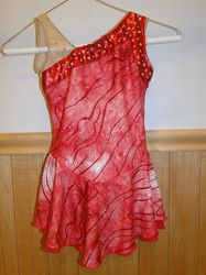 """Custom Red Figure Skating Dresses - Sk8 Gr8 Designs. This red dress accented with red metallic and Swarovski crystals was made for a """"Flashdance"""" routine. www.sk8gr8designs.com"""
