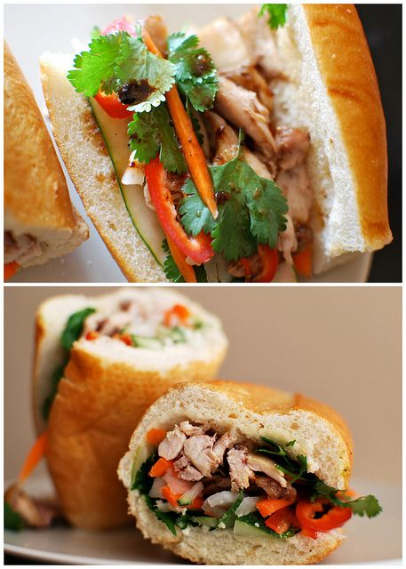 Banh mi ga nurong - Vietnamese roasted chicken sandwich with pickled vegetables!