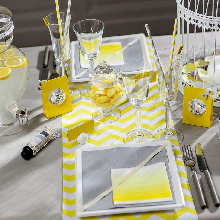 Chemin de table chevron en tissu jaune deco mariage