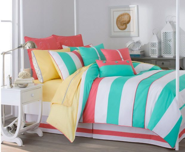 Turquoise and coral bedding | ChoozOn