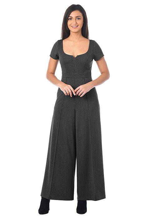 0b9629f035e3 Notch neck ponte knit jumpsuit-CL0053281