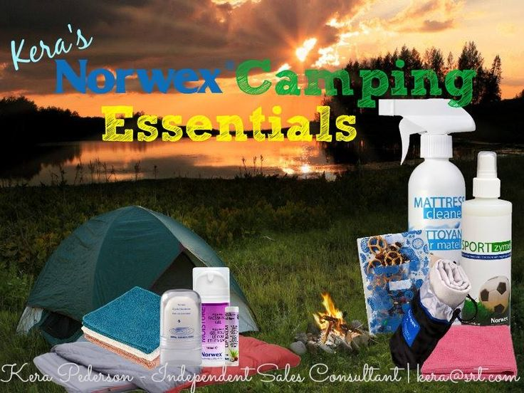 Camping Essentials: Spray the sleeping bags & mattresses with Norwex Mattress Cleaner. Pack Sportzyme for outhouse odor or smelly shoes in the camper. Sports Towel is a handy alternative to packing bulky towels. Our Snack Bag is great for snacks on the go. Enviros make cleanup a snap. Body Pack cloths for a good crevice cleaning in between lake baths! Crystal Deodorant made wet and rubbed on skin will give relief from itchy bug bites! Aloe Vera Face & Neck Gel will help sooth sun-burned skin