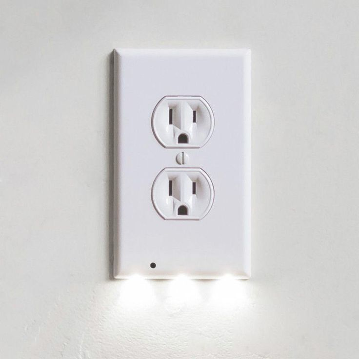 itd gear wall outlet coverplate w led night lights auto on wall outlet id=56165