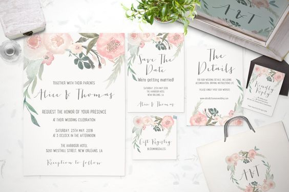 Printable Wedding Invitation Suite - Customizable Wedding Invites - DIY Wedding Invitation Set by TheSpringRabbit on Etsy