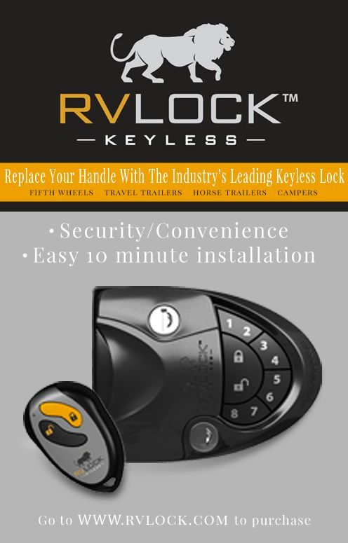 RVLock easy to install keyless entry handle for fifth wheels, travel trailers, campers, and horse trailers. State of the art security and unprecedented convenience.  www.rvlock.com