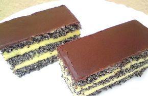 Prăjitură cu blat de mac, cremă de vanilie si glazură de ciocolată. O combinatie de arome, absolut delicioase si gustoase • Gustoase.net
