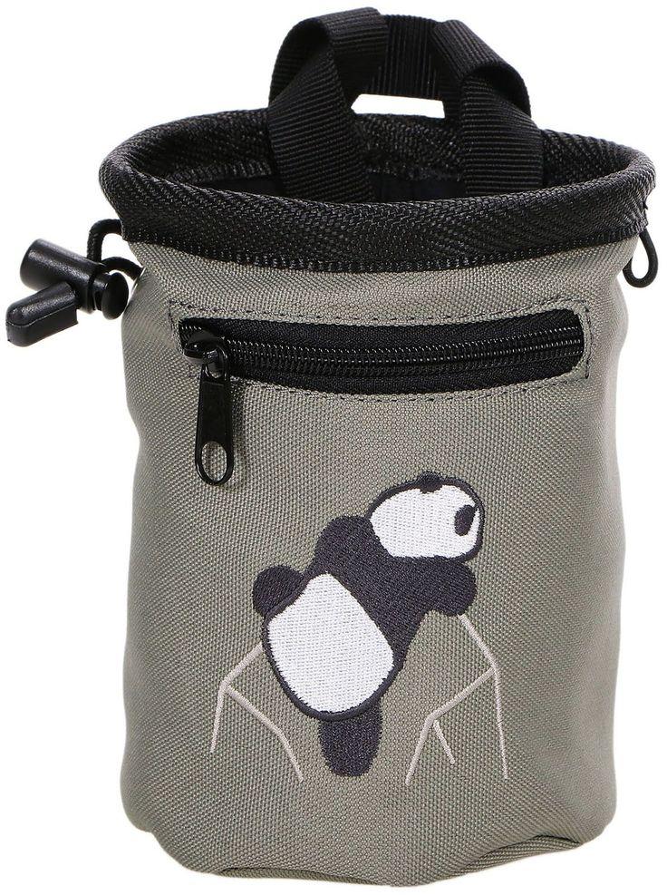 Panda Rock Climbing Chalk Bag w/ Zipper Pocket, Grey