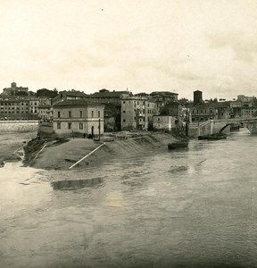 Italy Roma Panorama of Tiber Island Old NPG Stereo Photo 1900