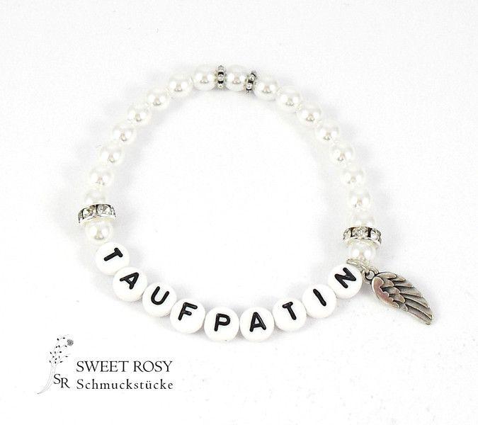 Namensarmbänder - Armband Taufpatin Taufe Geschenk Engelsflügel Engel weiß Namen - ein Designerstück von sweetrosy bei DaWanda