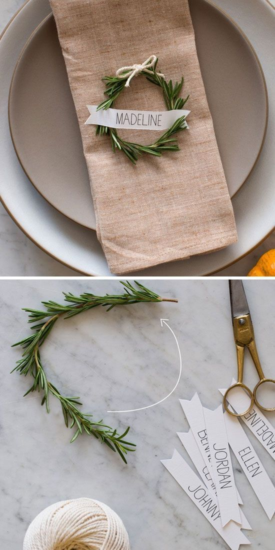 So simple and unique! This DIY wedding table arrangement and seating cards/place cards are perfect! All you need is rosemary, printed name cards and a string.