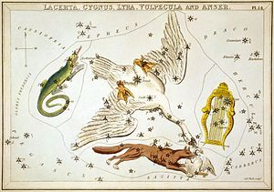 """Constellation Lyra can be seen on the right of this c. 1825 star map from Urania's Mirror. In the past, Lyra was often represented on star maps as a vulture or an eagle carrying a lyre, either enclosed in its wings, or in its beak. It was sometimes referred to as Aquila Cadens or Vultur Cadens (falling eagle or falling vulture). This historical association is preserved in the name of its brightest star, Vega, which is derived from an Arabic term meaning """"swooping eagle"""