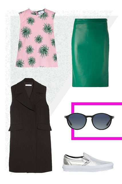 6 Commuter Outfits You Can Wear All Day #refinery29  http://www.refinery29.com/round-frame-sunglass-outfit-ideas#slide-2  Dress up a fun graphic tank with a leather pencil skirt and sleek sleeveless vest for a polished look that's also breathable. Then, add slip-ons for a comfy stroll — a metallic finish is a fancier alternative to your average gym sneaker.
