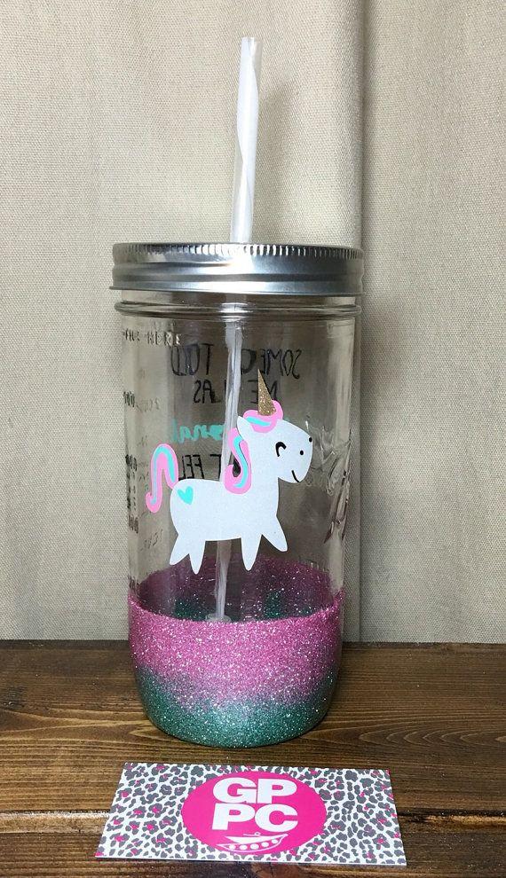 Unicorn  Glitter Dipped Mason Jar  Tumbler  by GPPCreations