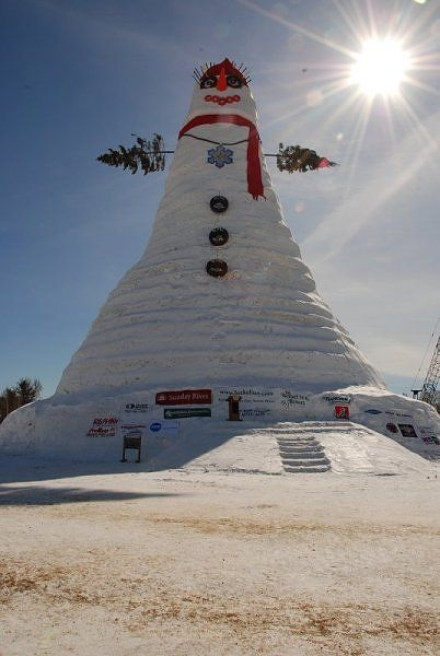 Snow Lady. Bethel, Maine. Guinness Book of World Records. Tallest Snow Woman Ever.